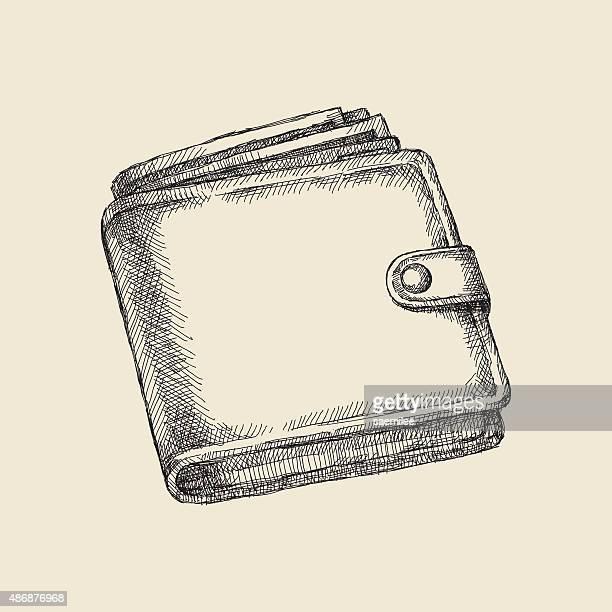 wallet drawing - wallet stock illustrations