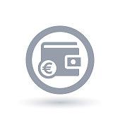 Wallet Euro icon - European purse money symbol