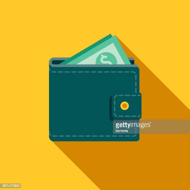 wallet flat design casino icon with side shadow - money to burn stock illustrations, clip art, cartoons, & icons