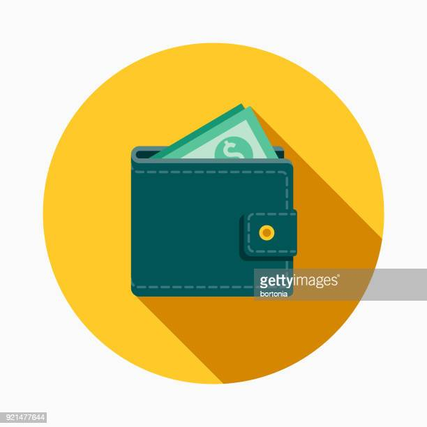 wallet flat design casino icon with side shadow - wallet stock illustrations