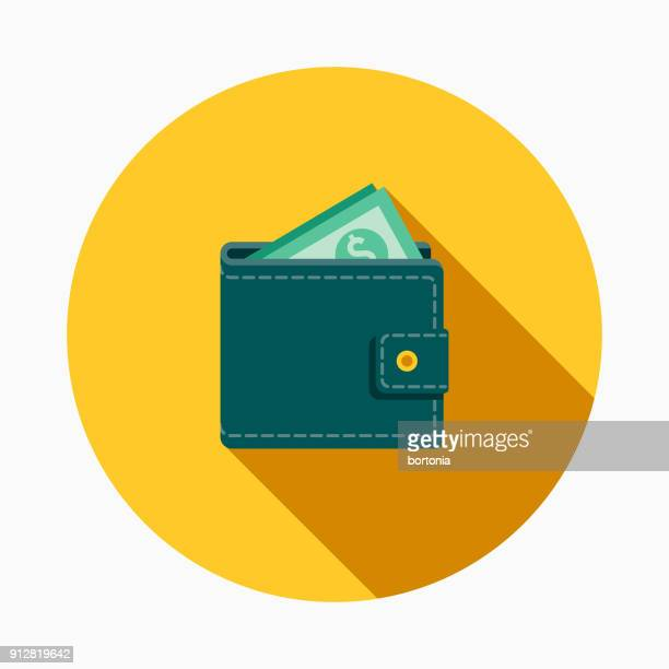 wallet flat design e-commerce icon - us paper currency stock illustrations, clip art, cartoons, & icons