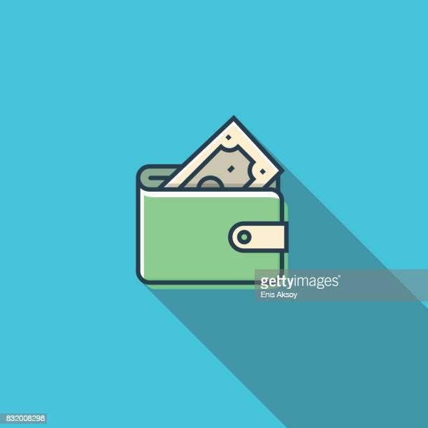 wallet flat icon - spending money stock illustrations, clip art, cartoons, & icons