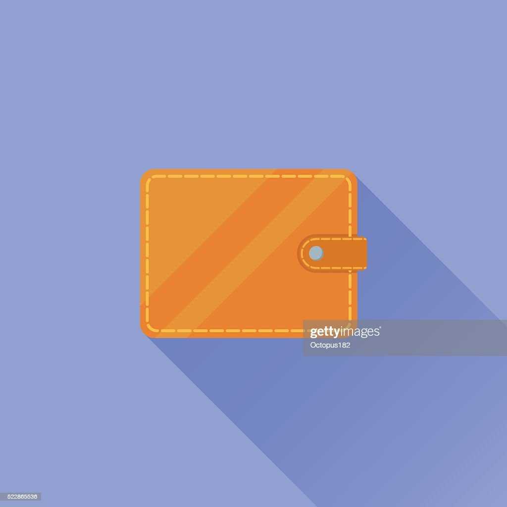 Wallet flat icon with long shadow on blue background