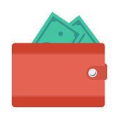Wallet Flat Vector Icon