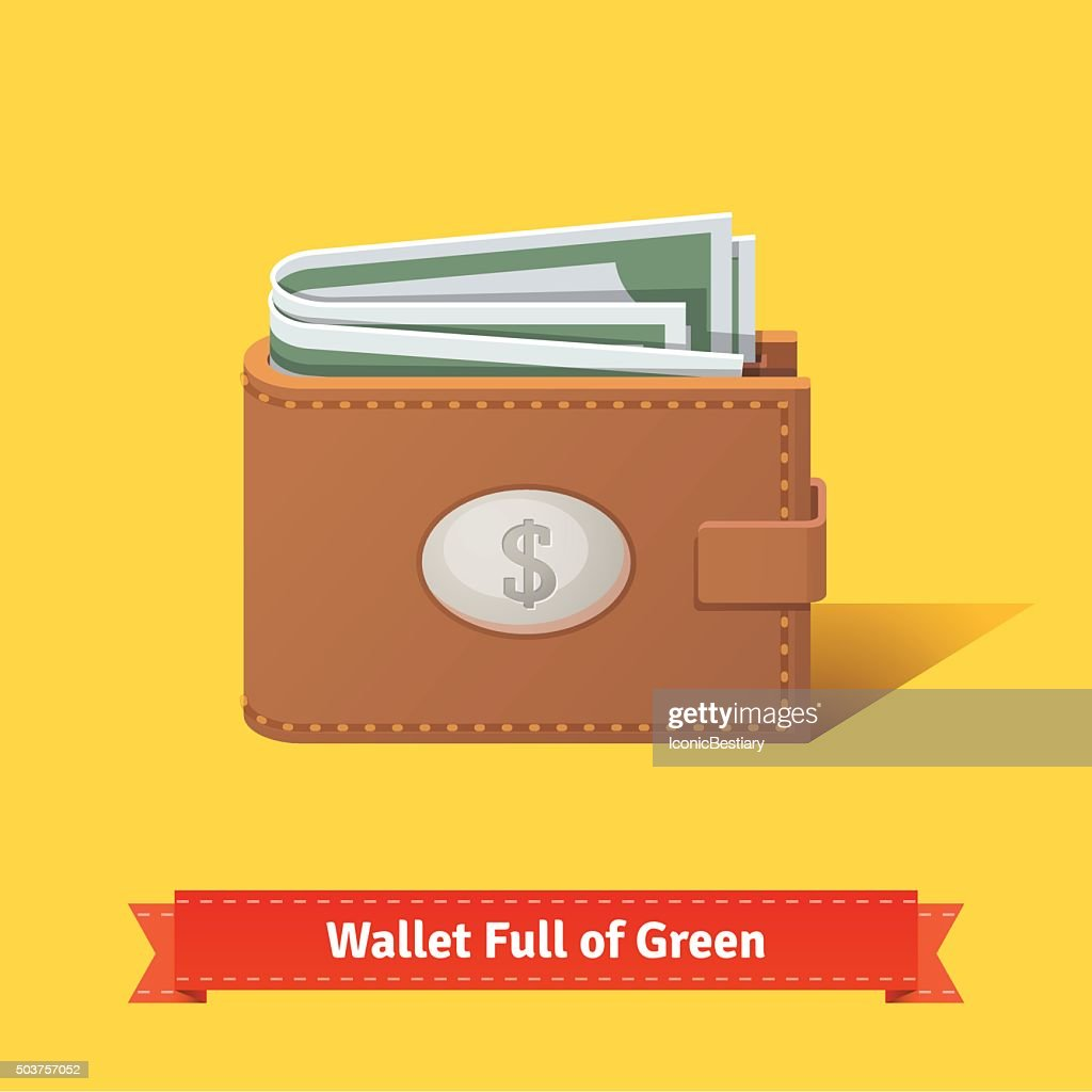 Wallet full of green dollars