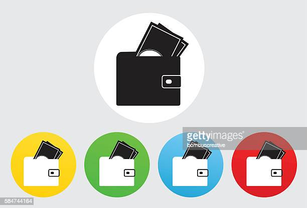 wallet icon flat graphic design - spending money stock illustrations, clip art, cartoons, & icons