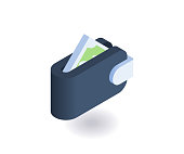 Wallet icon. Vector illustration in flat isometric 3D style.