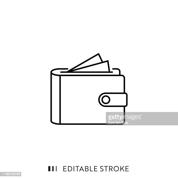 wallet icon with editable stroke and pixel perfect. - wallet stock illustrations