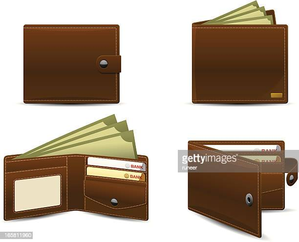 wallet icons | classic series - leather purse stock illustrations
