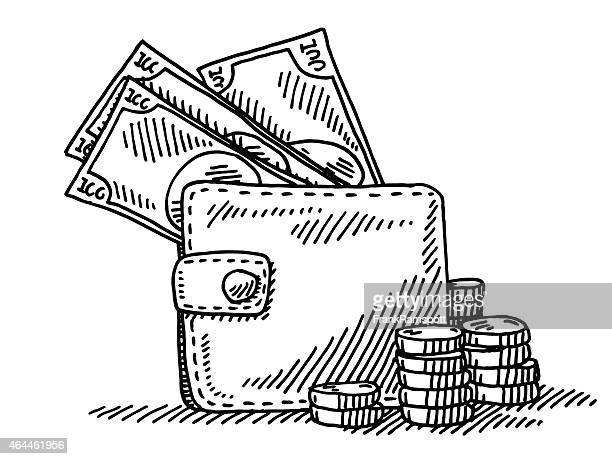 wallet money coins banknotes drawing - wallet stock illustrations