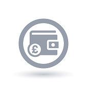 Wallet Pound icon - British purse money symbol