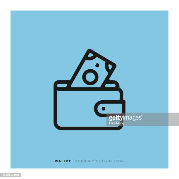 wallet rounded line icon - pocket stock illustrations