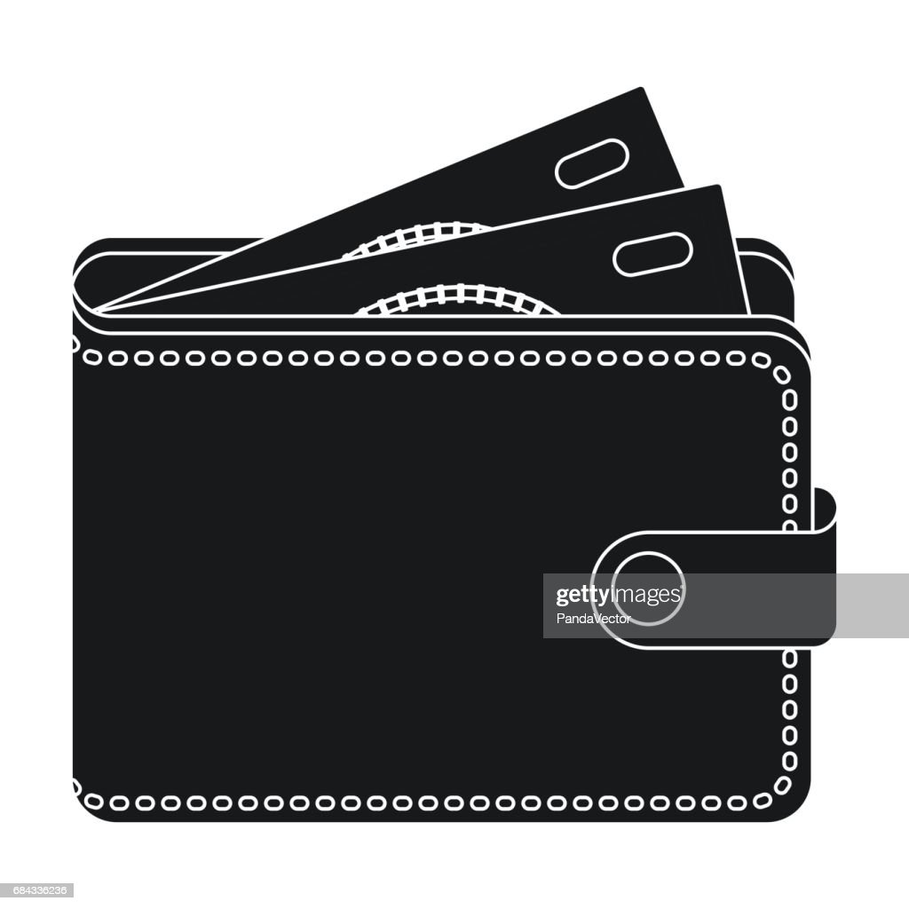Wallet with cash icon in black style isolated on white background. Rest and travel symbol stock vector illustration.