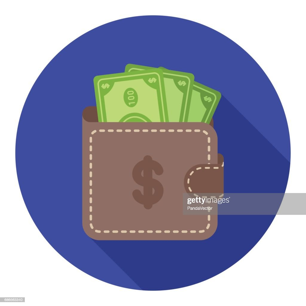 Wallet with cash icon in flat style isolated on white background. E-commerce symbol stock vector illustration.