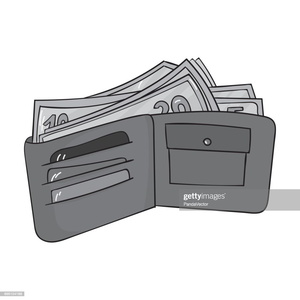 Wallet with cash icon in monochrome style isolated on white background. Supermarket symbol stock vector illustration.