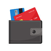 Wallet with credit cards. Vector illustration