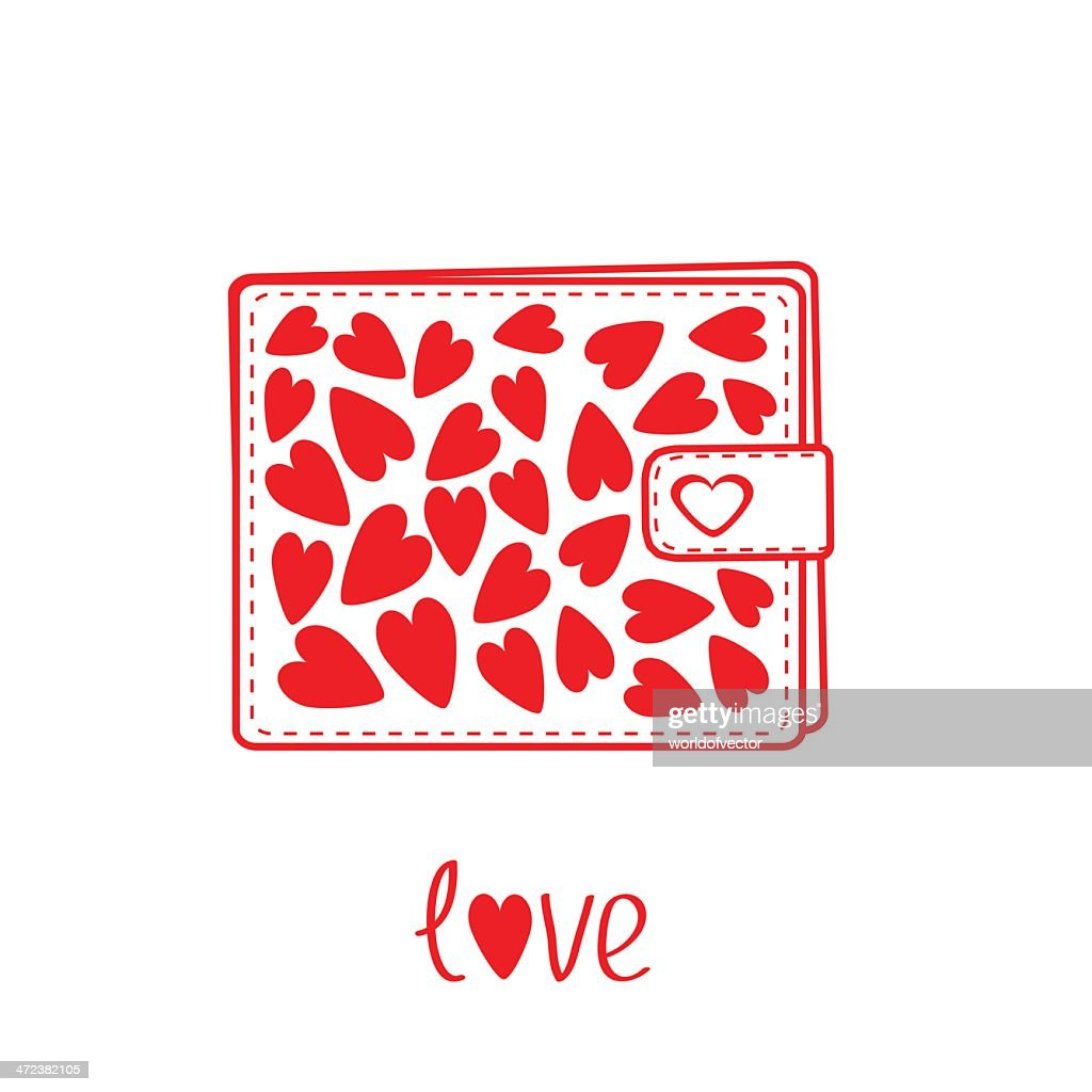 Wallet with hearts inside. Card