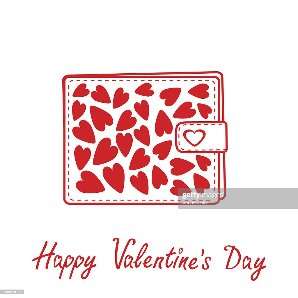 Wallet with hearts inside. Happy Valentines day card.