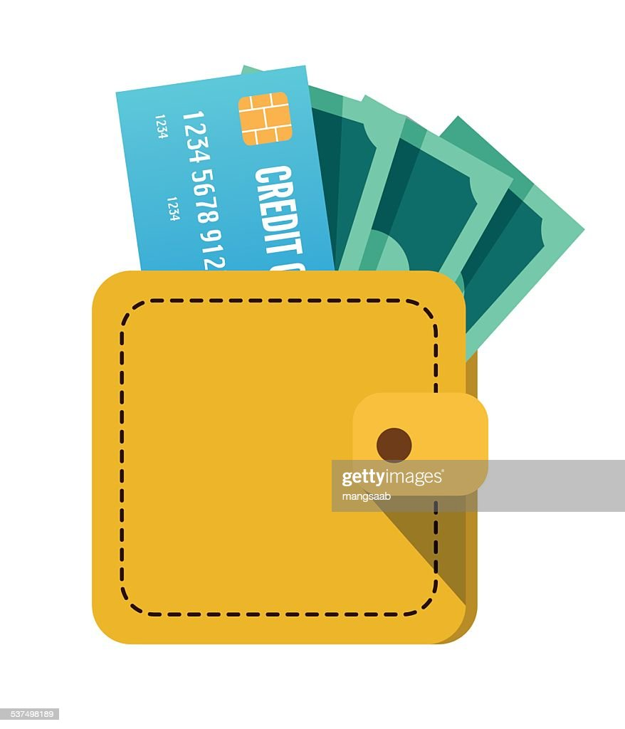 Wallet with money and credit card.