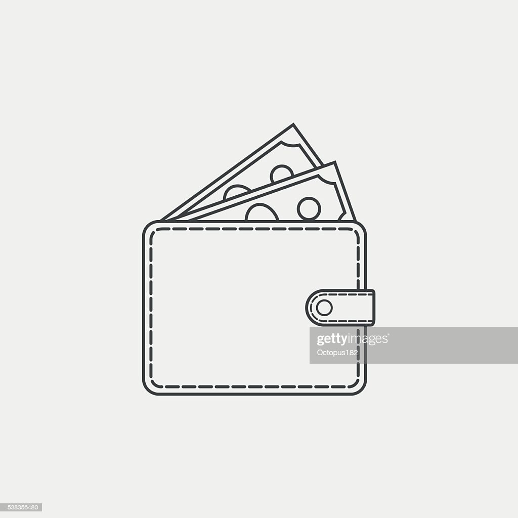Wallet with money line icon on white background