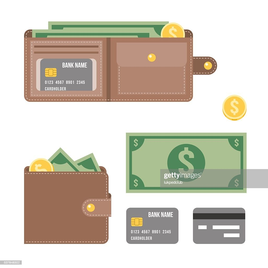 wallet,money and credit card illustration vector