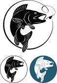 Walleye fish decals on white background