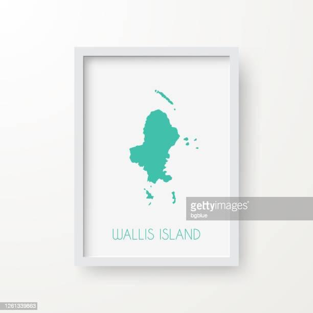 白い背景のフレーム内のウォリス島の地図 - フランス海外領点のイラスト素材/クリップアート素材/マンガ素材/アイコン素材