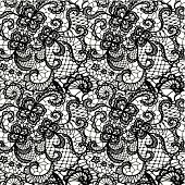 Wallpaper in a swirling lace pattern in black and white
