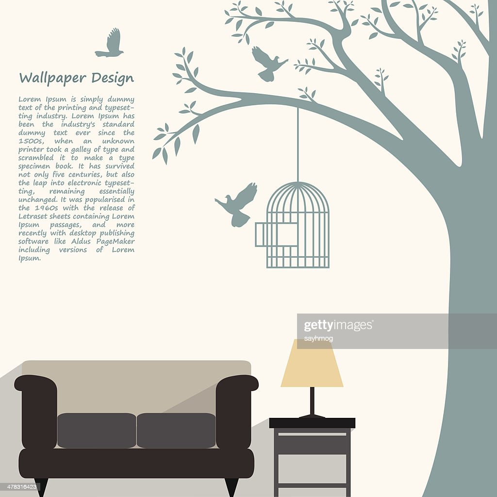 wallpaper pattern design of natural form for interior decorated