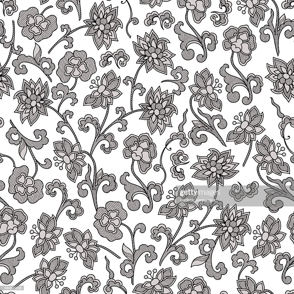 Wallpaper Seamless Vintage Flower Pattern Vector Art