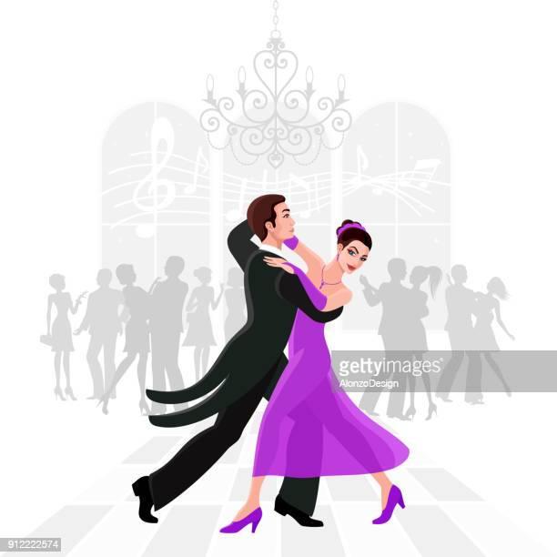 ilustraciones, imágenes clip art, dibujos animados e iconos de stock de bailarines de salón de baile de vals - bailar un vals
