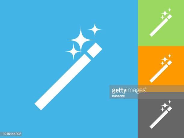 Wand  Flat Icon on Blue Background