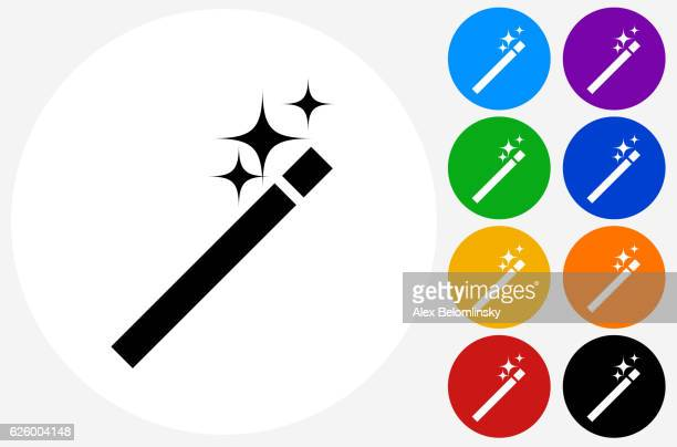 Wand Icon on Flat Color Circle Buttons