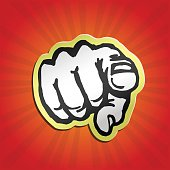 I want you! pointing finger retro vector illustration