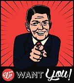 I want you! Retro businessman choosing candidate with pointing finger