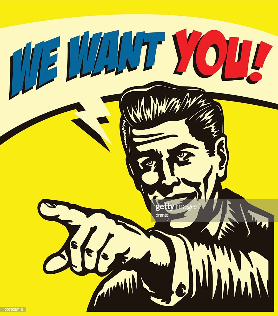 I want you! Vintage businessman with pointing finger vector illustration