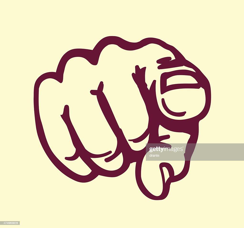 I want you! vintage pointing finger vector design element