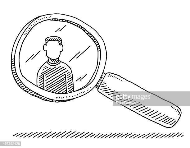 Wanted Man Magnifying Glass Drawing