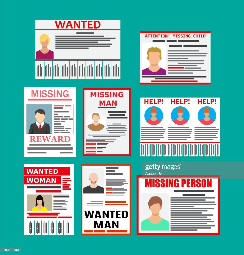 Wanted person paper poster. Missing announce