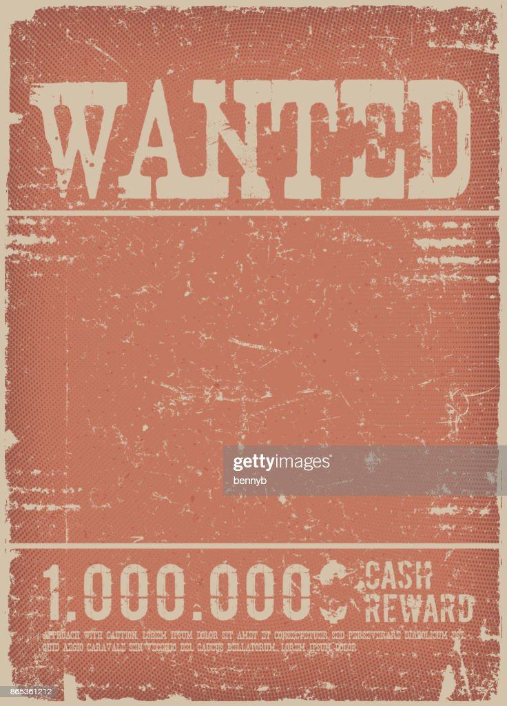 Wanted Poster On Red Grunge Background
