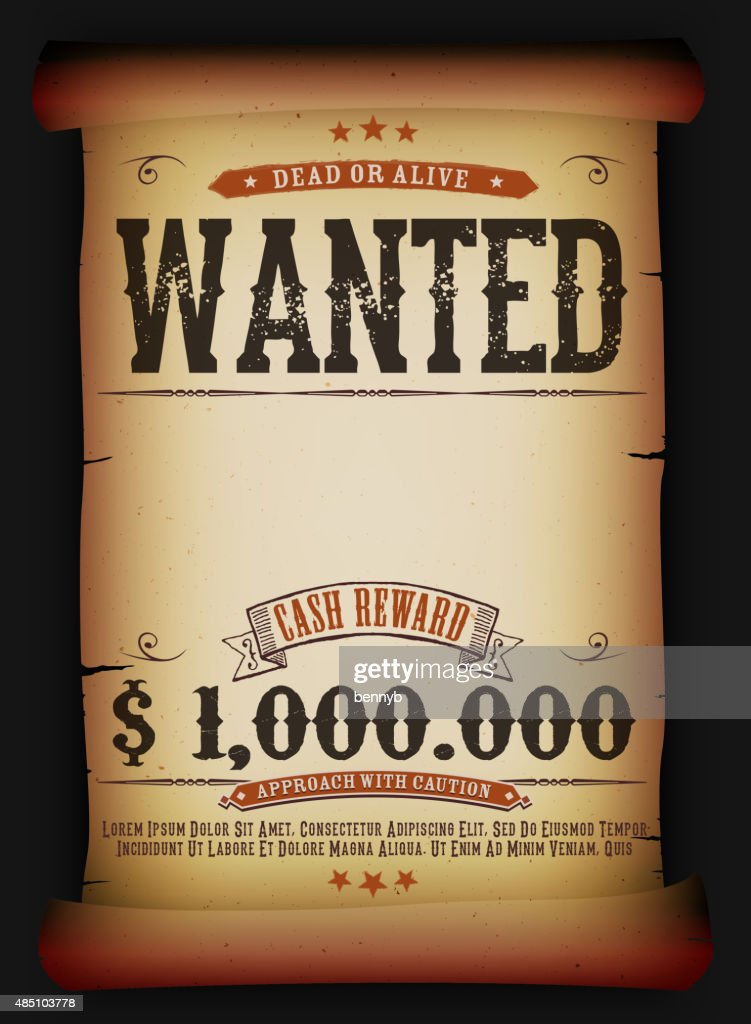 Wanted Vintage Poster On Old Parchment