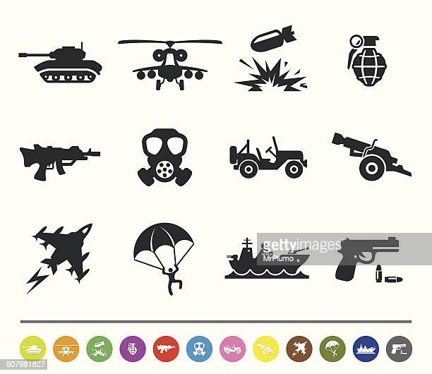 war and army icons | siprocon collection - war stock illustrations
