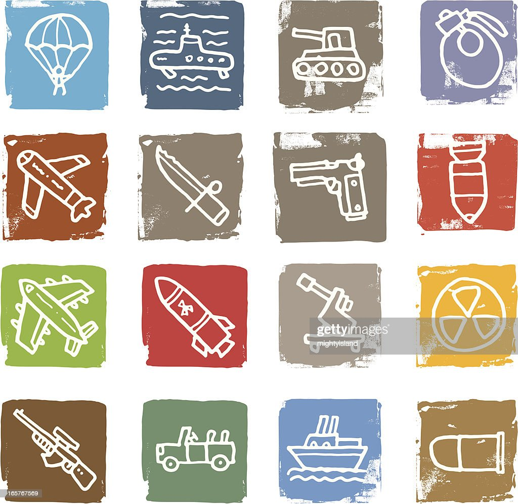 War and weapon block icon set