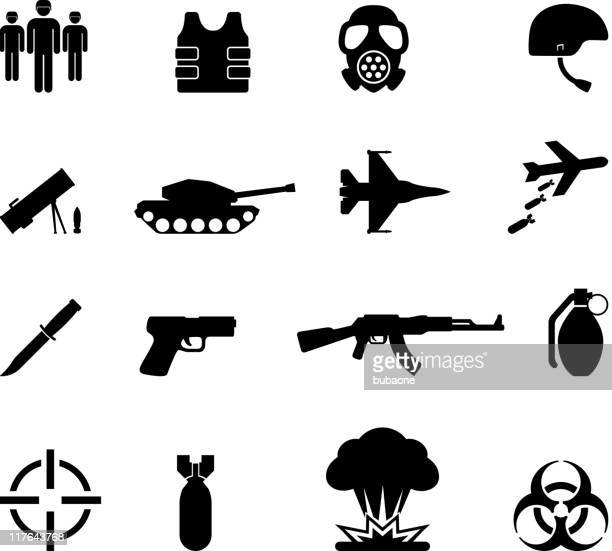 war black and white royalty free vector icon set - military stock illustrations, clip art, cartoons, & icons