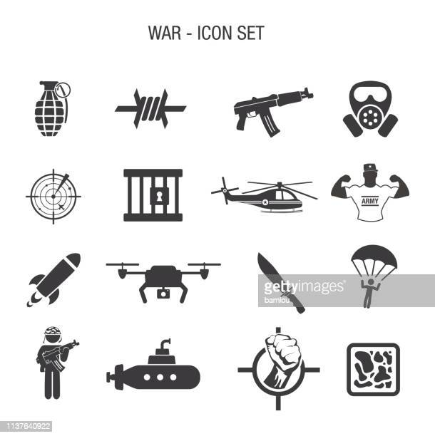 war icon set - special forces stock illustrations, clip art, cartoons, & icons