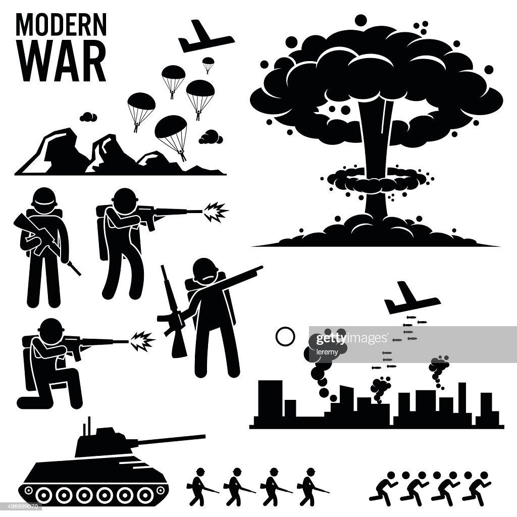 War Modern Warfare Nuclear Bomb Soldier Tank Attack Cliparts