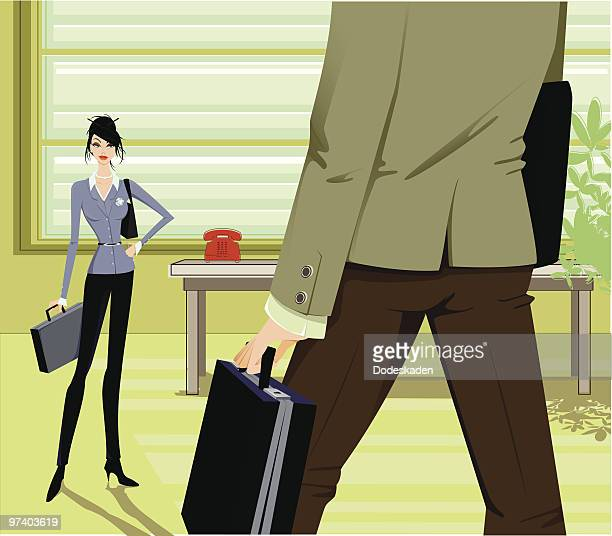 war of the sexes - office fight stock illustrations, clip art, cartoons, & icons