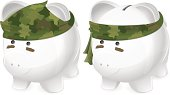 War! Piggy bank soldier wearing camouflage bandana in two styles