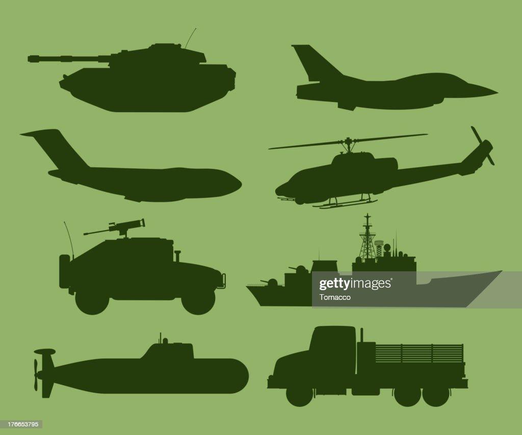 War Vehicles Silhouette