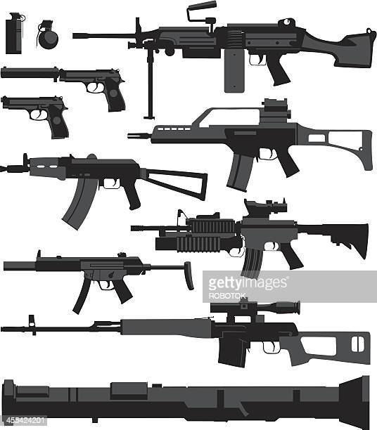 war weapons - submachine gun stock illustrations, clip art, cartoons, & icons